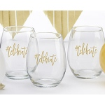 Kate Aspen #Celebrate 15 oz. Stemless Wine Glass (Set of 4)