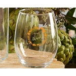 Kate Aspen Give Thanks 15 oz. Stemless Wine Glass (Set of 4)