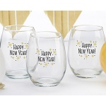 Kate Aspen Happy New Year! 15 oz. Stemless Wine Glass (Set of 4)