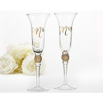 Kate Aspen Gold Glitter and Rhinestone Mr. & Mrs. Toasting Flutes