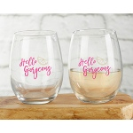 Kate Aspen Cheery and Chic 15 oz. Stemless Wine Glass (Set of 4)