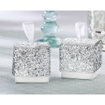 Sparkle and Shine, Silver Glitter Favor Box: Set of 24