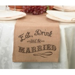 Lillian Rose Eat, Drink and Be Married Burlap Table Runner