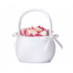 Lillian Rose Plain Satin Round Basket - White