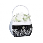Lillian Rose Black Damask Flower Basket