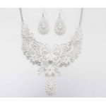 Lillian Rose Butterfly Jewelry Set - Silver