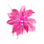 Lillian Rose Feather Hair Clip - Hot pink