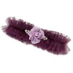 Lillian Rose Tulle Garter with Flower - Plum
