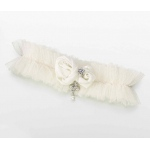 Lillian Rose Tulle Garter with Jewel - Ivory