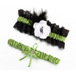 Lillian Rose Green & Black Garter Set