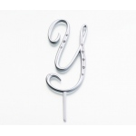 Lillian Rose Silver Rhinestone Monogram - Large Y